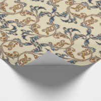 Gorgeous Glitter Damask Navy Gold Wrapping Paper