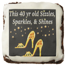 GORGEOUS GOLD 40TH SHOE QUEEN CHOCOLATE BROWNIE