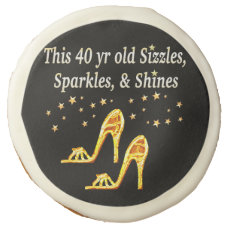 GORGEOUS GOLD 40TH SHOE QUEEN SUGAR COOKIE