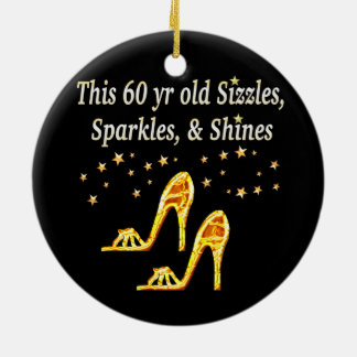 GORGEOUS GOLD 60TH BIRTHDAY CERAMIC ORNAMENT