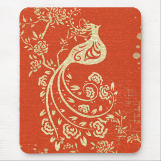 Gorgeous Gold Bird Fine Girly Retro Floral Mouse Pad