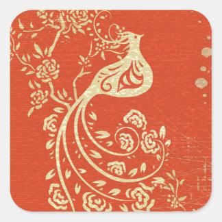 Gorgeous Gold Bird Fine Girly Retro Floral Square Sticker
