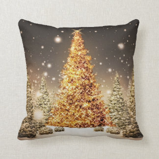 Gorgeous Gold Christmas Tree Throw Pillow