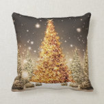 Gorgeous Gold Christmas Tree Throw Pillows