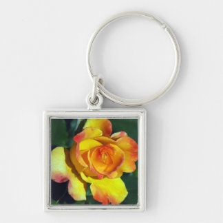 Gorgeous Golden Glowing Rose Keychain
