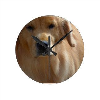 Gorgeous Golden Retriever Round Clock