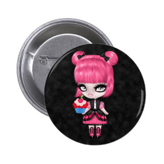 Gorgeous Goth Gothic Girly Doll w/Pink Hair 2 Inch Round Button