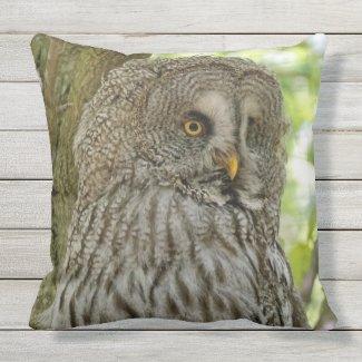 Great Grey Owl Print Throw Pillow