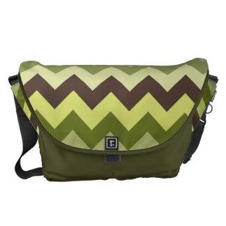 Gorgeous Green and Brown Chevron Pattern Messenger Bag