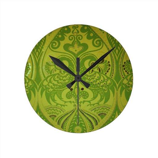 GORGEOUS GREEN BIRDS WALL CLOCK