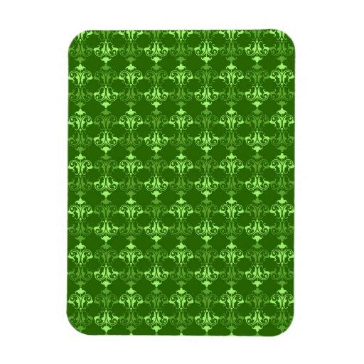 Gorgeous Green Damask Rectangular Photo Magnet