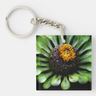 Gorgeous Green Flower on Black Background Acrylic Key Chains