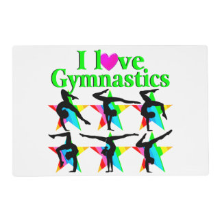 GORGEOUS GREEN I LOVE GYMNASTICS DESIGN PLACEMAT