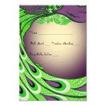 "Gorgeous Green Purple Vintage Peacock rsvp 3.5"" X 5"" Invitation Card"