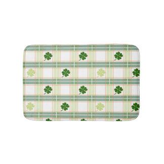 Gorgeous Green Shamrock Plaid Bathroom Mat