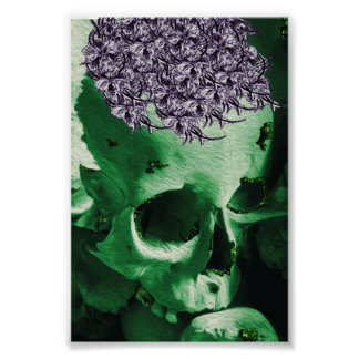Gorgeous Green Skull with Purple Posy Hat Poster