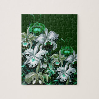 Gorgeous Green Vintage Flowers Jigsaw Puzzle