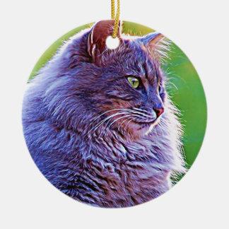 Gorgeous Grey Cat Ceramic Ornament