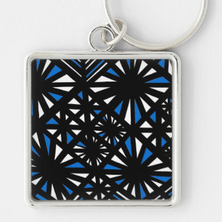 Gorgeous Hearty Now Poised Silver-Colored Square Keychain