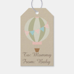 Gorgeous Hot Air Balloon Neutral Baby Shower Gift Tags