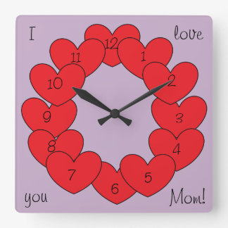 Gorgeous I love you Personalized Red Hearts Square Wall Clock