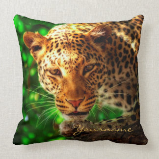 Gorgeous Leopard Big Cat Portrait Wild Animal Face Throw Pillow