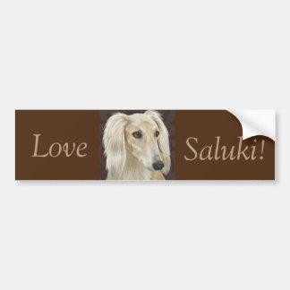 Gorgeous Light Fur Saluki Dog on Brown Background Bumper Sticker