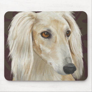 Gorgeous Light Fur Saluki Dog on Brown Background Mouse Pad