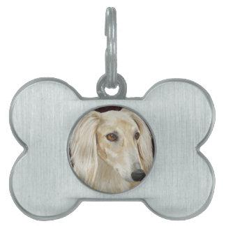 Gorgeous Light Fur Saluki Dog on Brown Background Pet ID Tag