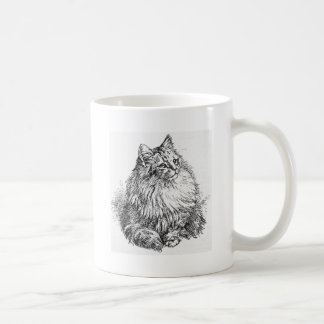 Gorgeous Longhair Cat Sketch Artwork Mug