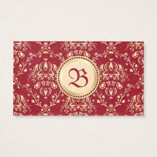 Gorgeous Medieval Gold Damask Carmine Red Monogram Business Card