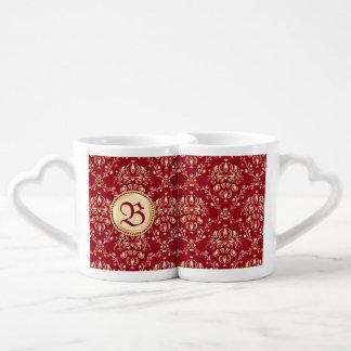 Gorgeous Medieval Gold Damask Carmine Red Monogram Coffee Mug Set