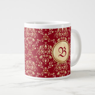 Gorgeous Medieval Gold Damask Carmine Red Monogram Giant Coffee Mug