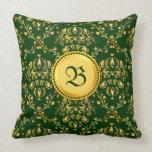 Gorgeous Medieval Monogram Gold Dark Green Damask Pillows