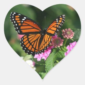 Gorgeous Monarch Butterfly Design Heart Sticker