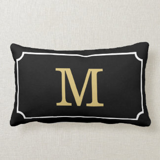 Gorgeous Monogram Geom Pattern Lumbar Throw Pillow