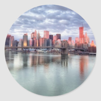 Gorgeous morning view and city reflections classic round sticker