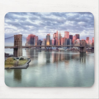 Gorgeous morning view and city reflections mousepads