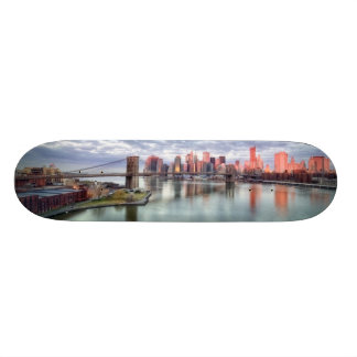 Gorgeous morning view and city reflections skateboard