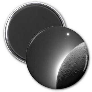 Gorgeous NASA image, the Moon lit by Earth-shine 2 Inch Round Magnet
