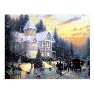Gorgeous Old Fashioned Christmas Scene Postcard
