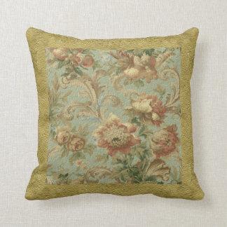 Gorgeous Old World Antique Floral Faux Texture Throw Pillow