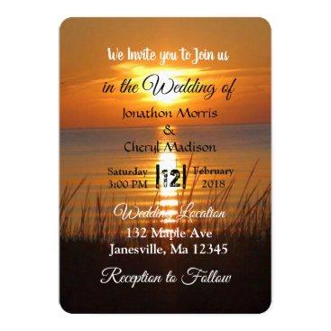 Beach Themed Gorgeous Orange Sunset Wedding Invitations