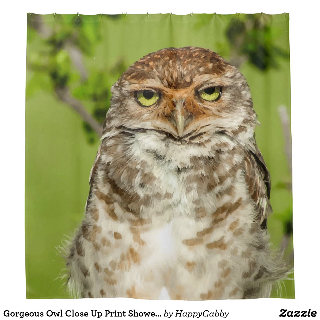 Owl Close Up Print Shower Curtain