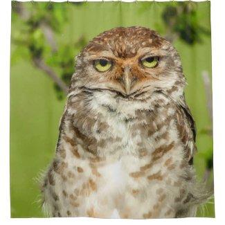 Owl Close Up Print Shower Curtain