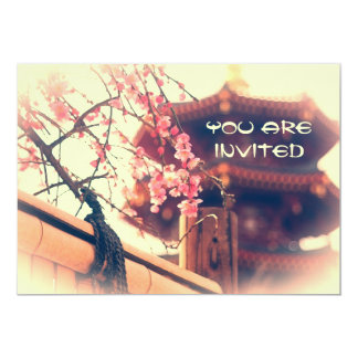 Gorgeous Pagoda Plum Blossoms Bamboo Fence Spring Card