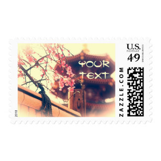 Gorgeous Pagoda Plum Blossoms Bamboo Fence Spring Postage Stamp