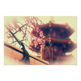 Gorgeous Pagoda Plum Blossoms Bamboo Fence Spring Posters