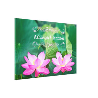 Gorgeous Pair Pink Lotus Couple Pond Green Leaves Canvas Print