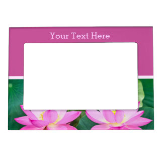 Gorgeous Pair Pink Lotus Couple Pond Green Leaves Magnetic Picture Frame